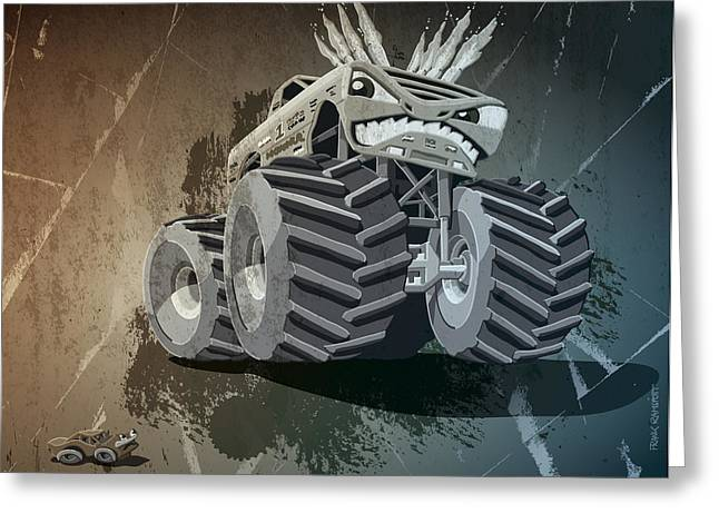 Dirty Greeting Cards - Aggressive Monster Truck Grunge Greeting Card by Frank Ramspott