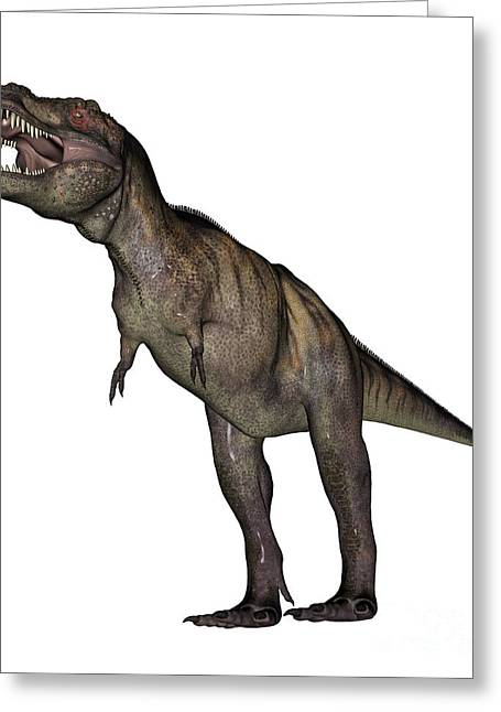 Aggressive Digital Greeting Cards - Aggressive Tyrannosaurus Rex Growling Greeting Card by Elena Duvernay