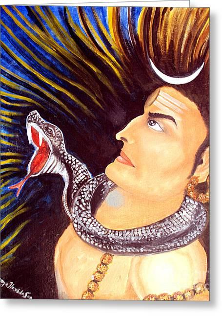 Rudra Greeting Cards - Aghora Rudra on the Night of Shiva Greeting Card by Saranya Haridasan