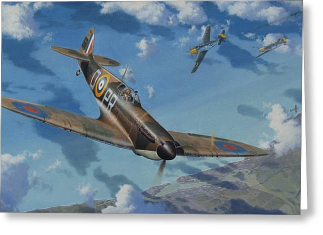 Military Airplanes Paintings Greeting Cards - Agility Speed and Beauty Greeting Card by Steven Heyen