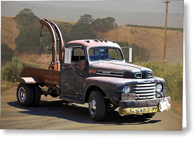 Family Car Greeting Cards - Aging Tow Truck Greeting Card by Dave Koontz