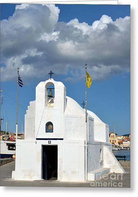 White Greeting Cards - Agios Nikolaos chapel in Aegina port Greeting Card by George Atsametakis