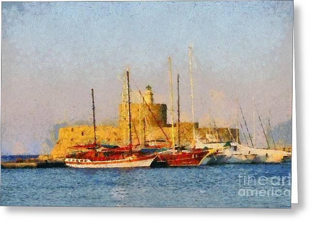 Mandraki Greeting Cards - Agios Nikolaos lighthouse Greeting Card by George Atsametakis