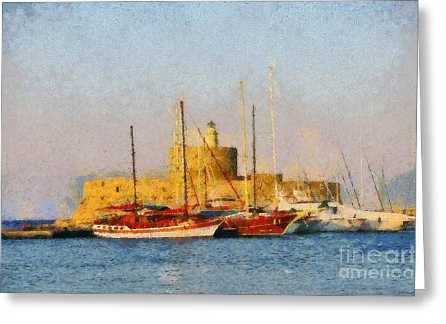 Framed Prints Greeting Cards - Agios Nikolaos lighthouse Greeting Card by George Atsametakis