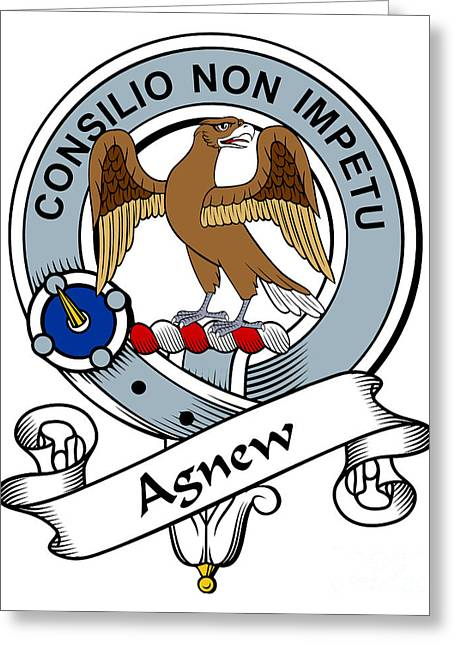 Agnew Greeting Cards - Agnew Clan Badge Greeting Card by Heraldry