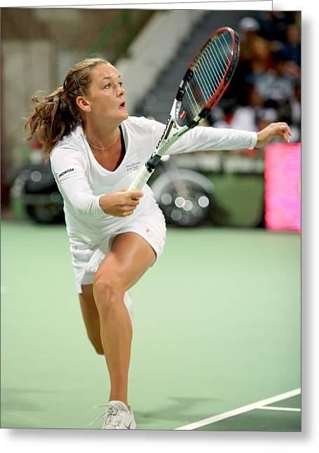 Tennis Star Greeting Cards - Agnieszka Radwanska playing in Doha Greeting Card by Paul Cowan
