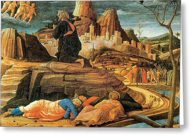 Agony In Garden Greeting Cards - Agony in the Garden Greeting Card by Andrea Mantegna