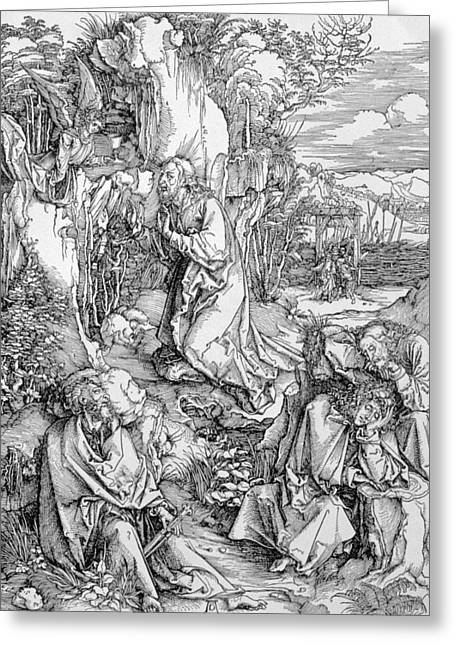 Renaissance Prints Greeting Cards - Agony in the Garden from the Great Passion series Greeting Card by Albrecht Duerer