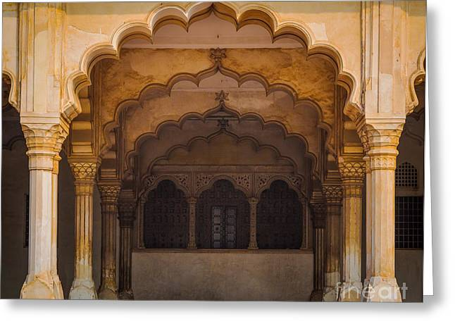 Native Architecture Greeting Cards - Agra Fort Arches Greeting Card by Inge Johnsson