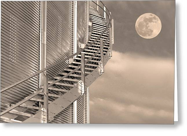 Grain Elevator Greeting Cards - Agri Moon Greeting Card by Don Spenner