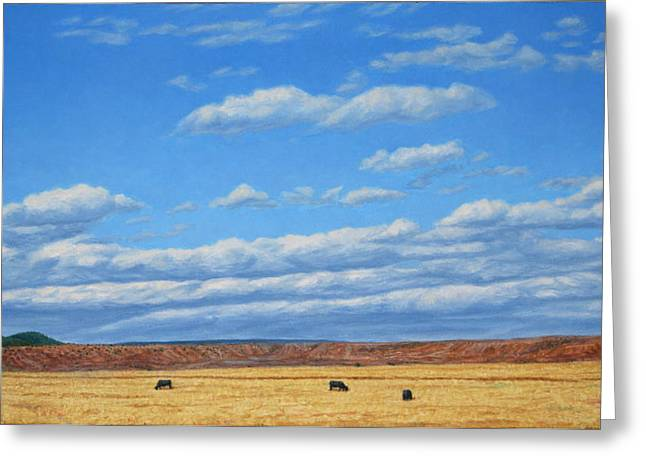 Ranch Paintings Greeting Cards - Grazing Greeting Card by James W Johnson