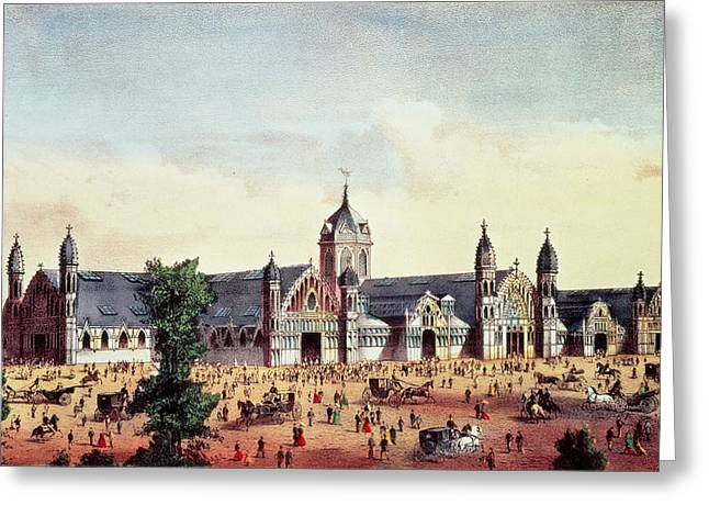Horse And Carriage Greeting Cards - Agricultural Hall, Grand United States Centennial Exhibition, Fairmount Park, Philadelphia, Pub Greeting Card by American School