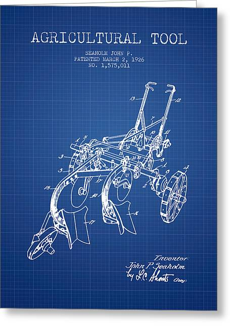 Plows Greeting Cards - Agricultural Tool patent from 1926 - Blueprint Greeting Card by Aged Pixel