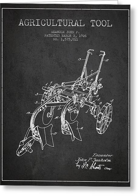 Plows Greeting Cards - Agricultural Tool patent from 1926 - Dark Greeting Card by Aged Pixel