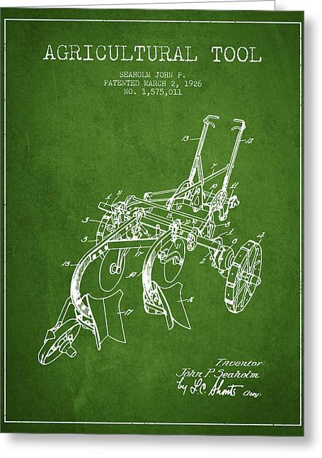 Plows Greeting Cards - Agricultural Tool patent from 1926 - Green Greeting Card by Aged Pixel