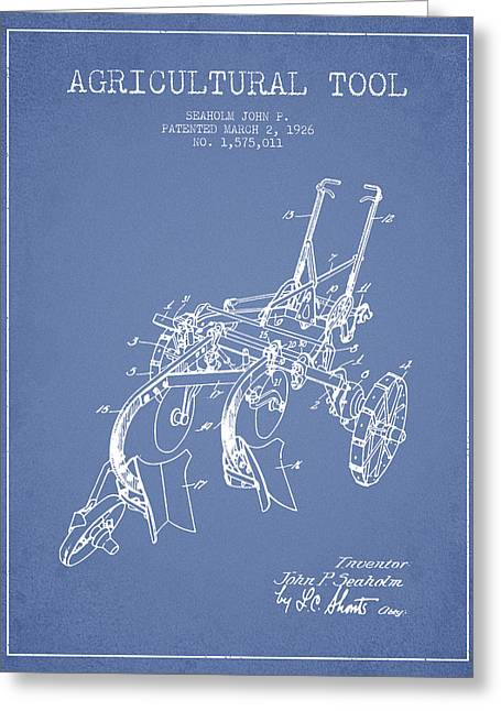 Plows Greeting Cards - Agricultural Tool patent from 1926 - Light Blue Greeting Card by Aged Pixel