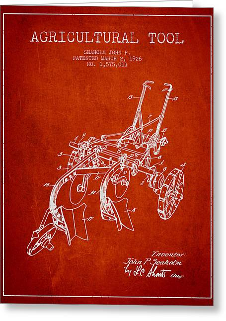 Plows Greeting Cards - Agricultural Tool patent from 1926 - Red Greeting Card by Aged Pixel