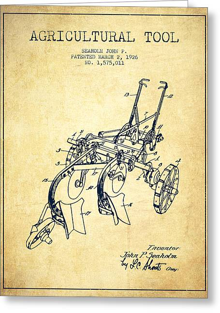 Plows Greeting Cards - Agricultural Tool patent from 1926 - Vintage Greeting Card by Aged Pixel
