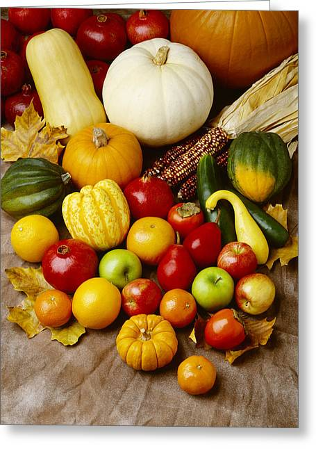 Tangerines Greeting Cards - Agriculture - Autumn Fruits Greeting Card by Ed Young