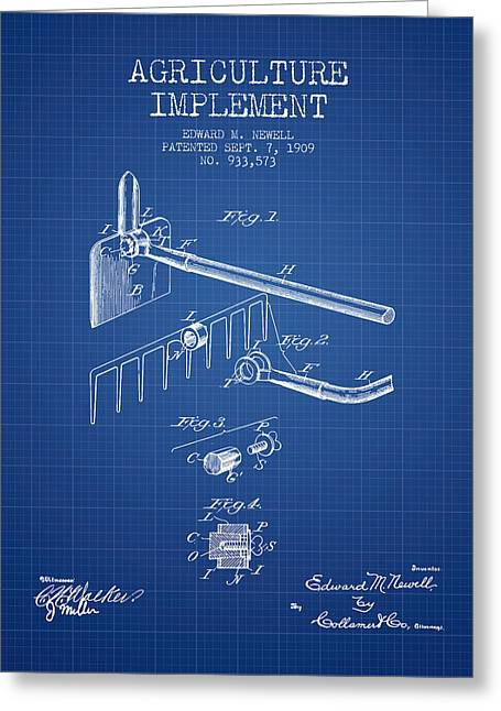 Agriculture Implement Patent From 1909 - Blueprint Greeting Card by Aged Pixel