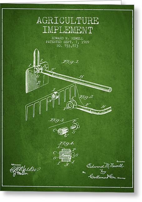 Plows Greeting Cards - Agriculture Implement patent from 1909 - Green Greeting Card by Aged Pixel