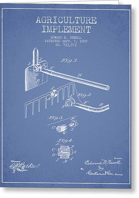 Plows Greeting Cards - Agriculture Implement patent from 1909 - Light Blue Greeting Card by Aged Pixel