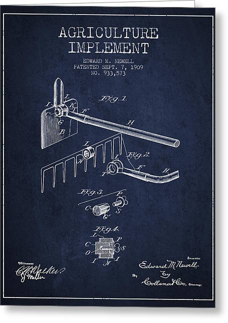 Plows Greeting Cards - Agriculture Implement patent from 1909 - Navy Blue Greeting Card by Aged Pixel