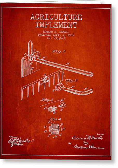 Plows Greeting Cards - Agriculture Implement patent from 1909 - Red Greeting Card by Aged Pixel