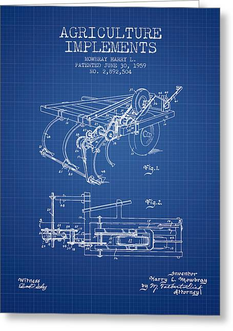 Old Farm Equipment Greeting Cards - Agriculture Implements patent from 1959 - Blueprint Greeting Card by Aged Pixel
