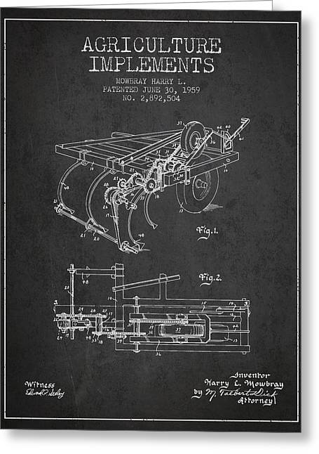 Old Farm Equipment Greeting Cards - Agriculture Implements patent from 1959 - Dark Greeting Card by Aged Pixel