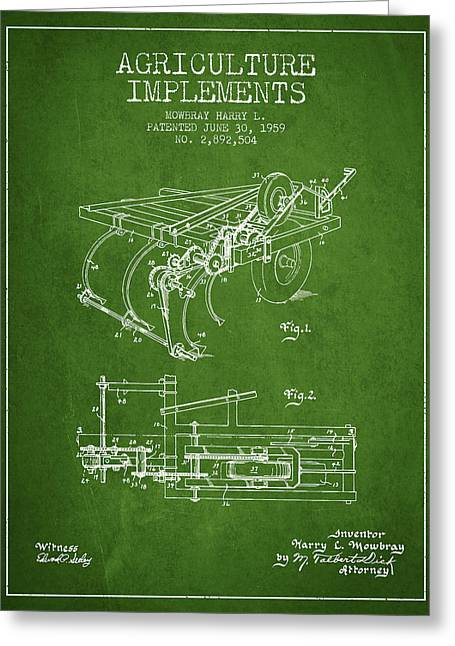 Old Farm Equipment Greeting Cards - Agriculture Implements patent from 1959 - Green Greeting Card by Aged Pixel