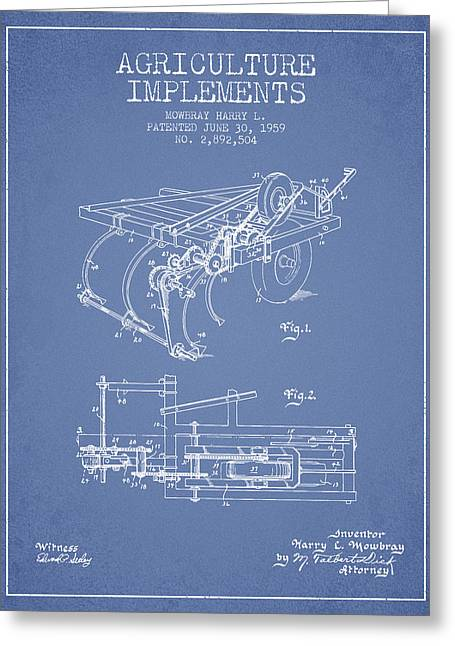 Old Farm Equipment Greeting Cards - Agriculture Implements patent from 1959 - Light Blue Greeting Card by Aged Pixel