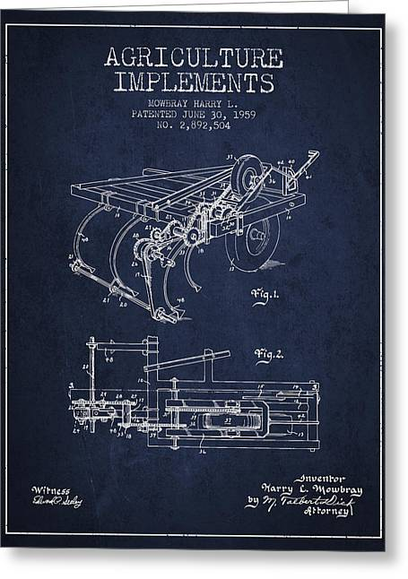 Old Farm Equipment Greeting Cards - Agriculture Implements patent from 1959 - Navy Blue Greeting Card by Aged Pixel