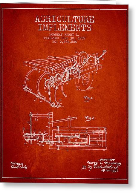 Old Farm Equipment Greeting Cards - Agriculture Implements patent from 1959 - Red Greeting Card by Aged Pixel