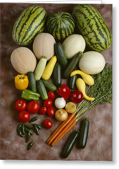 Watermelon Greeting Cards - Agriculture - Mixed Vegetables Greeting Card by Ed Young