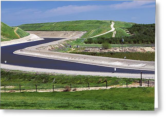 Nut Trees Greeting Cards - Agriculture - The California Aqueduct Greeting Card by Randy Vaughn-Dotta