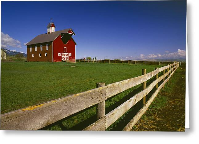 Old Barns Greeting Cards - Agriculture - Well Preserved Red Ranch Greeting Card by Chuck Haney