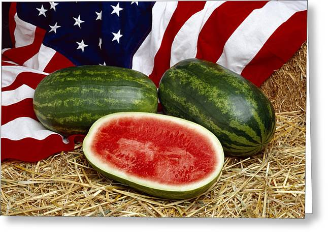 Watermelon Greeting Cards - Agriculture - Whole And Sliced Greeting Card by Ed Young