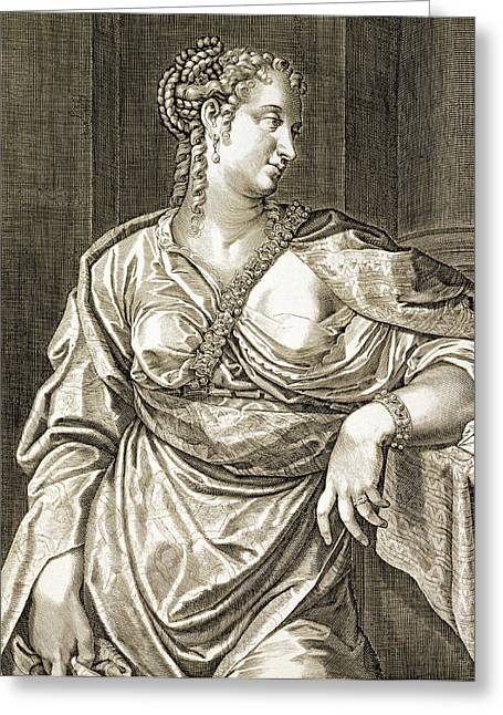 Script Drawings Greeting Cards - Agrippina Wife Of Tiberius Greeting Card by Aegidius Sadeler or Saedeler