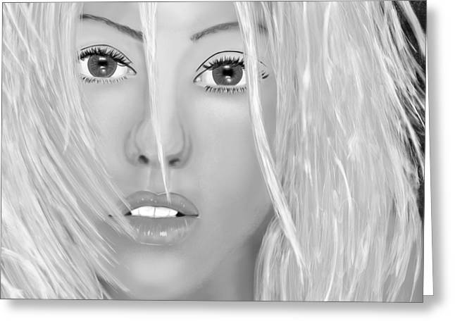 Christina Aguilera Greeting Cards - Aguilera beautiful black and white Greeting Card by Mathieu Lalonde