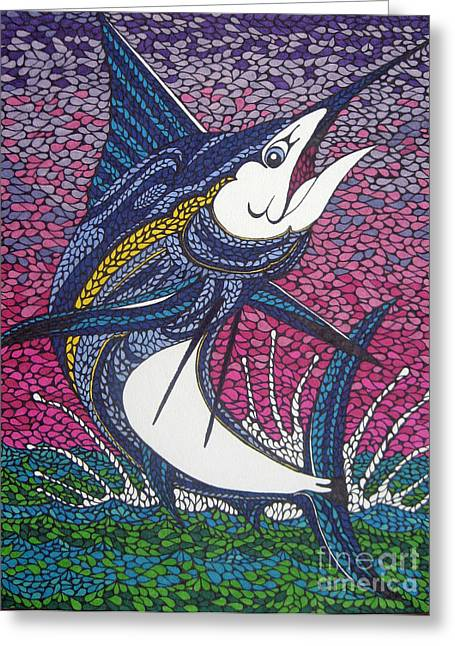 Swordfish Drawings Greeting Cards - Aguja Azul Greeting Card by Andrea Barrett