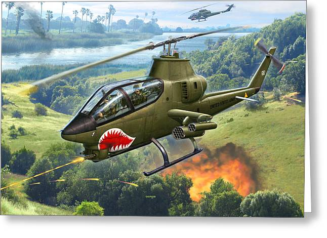 Cobra Art Greeting Cards - AH-1G Huey Cobra   The Cobras Venom Greeting Card by Stu Shepherd