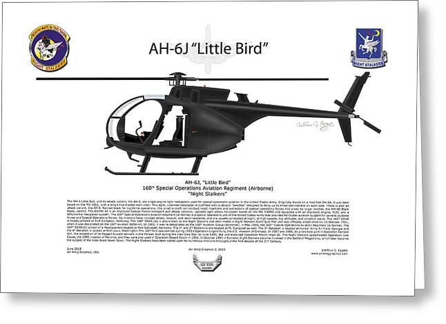 Aircraft Artwork Greeting Cards - AH-6J Little Bird Greeting Card by Arthur Eggers