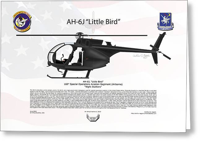 Ah-6j Greeting Cards - AH-6J Little Bird Night Stalkers Greeting Card by Arthur Eggers