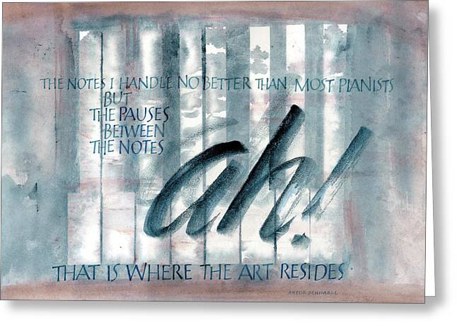 Pause Greeting Cards - ah Music Greeting Card by Judy Dodds