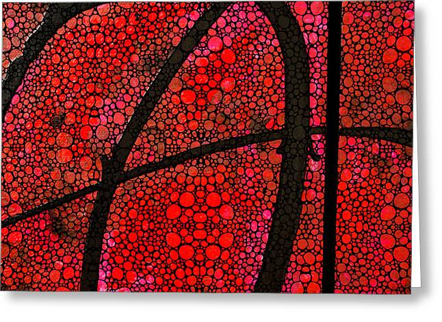 AH - Red Stone Rock'd Art by Sharon Cummings Greeting Card by Sharon Cummings