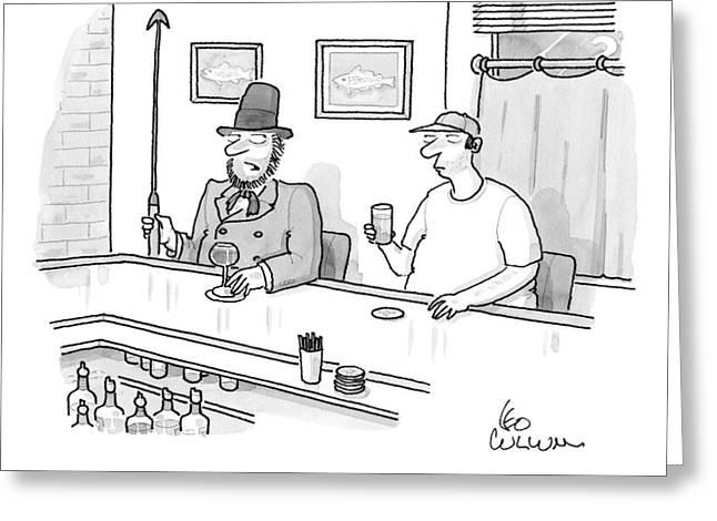 Ahab Speaks To A Man In A Bar Greeting Card by Leo Cullum