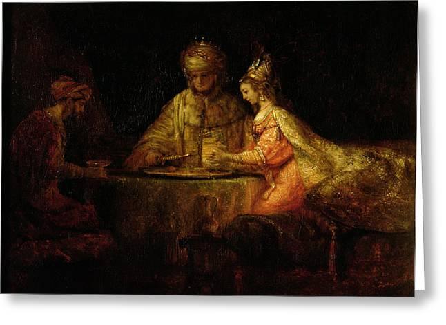 Judaic Greeting Cards - Ahasuerus Xerxes, Haman And Esther, C.1660 Oil On Canvas Greeting Card by Rembrandt Harmensz. van Rijn