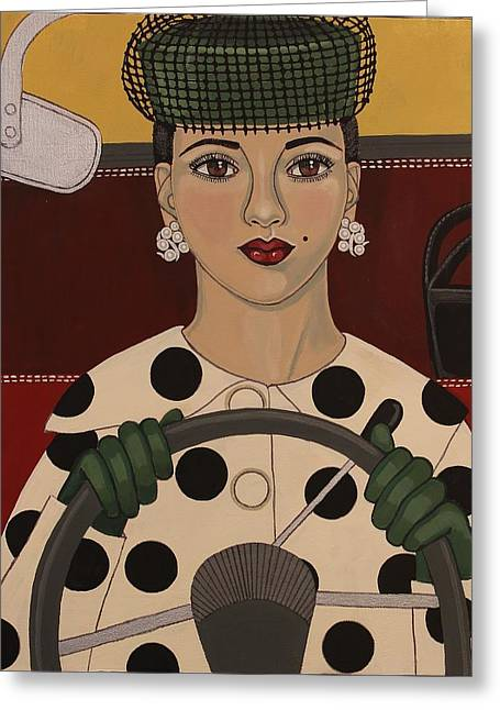 Steering Paintings Greeting Cards - Ahead of Her Time Greeting Card by Stephanie Cohen