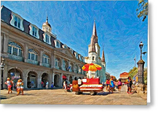 Lucky Dogs Greeting Cards - Ahh...New Orleans impasto Greeting Card by Steve Harrington